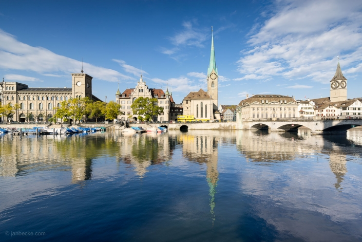 Cityscape of Zurich along the Limmat river with Fraumünster church, Switzerland