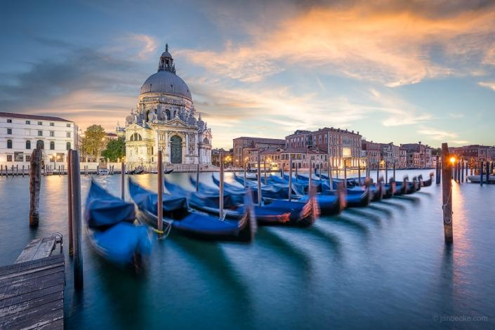 Gondolas in front of the church Santa Maria Della Salute, Venice, Italy