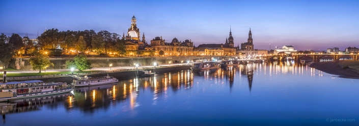 City of Dresden skyline panorama at night, Saxony, Germany
