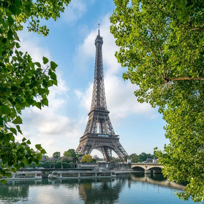 Eiffel Tower at the banks of the Seine in spring, Paris, France
