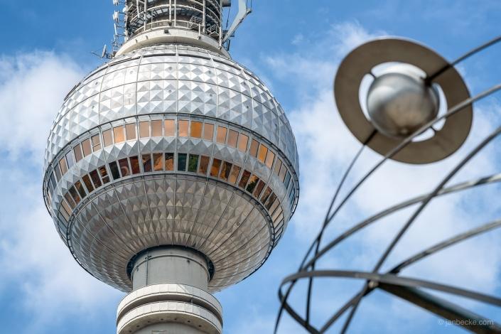 Fernsehturm Berlin and Urania World Clock close up