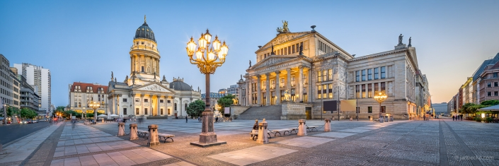 Gendarmenmarkt square in Berlin with concert hall and German Church