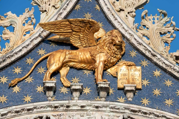 Close up of the golden Lion of Saint Mark