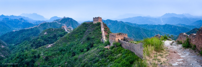 Panoramic view of the Simatai section of the Great Wall of China