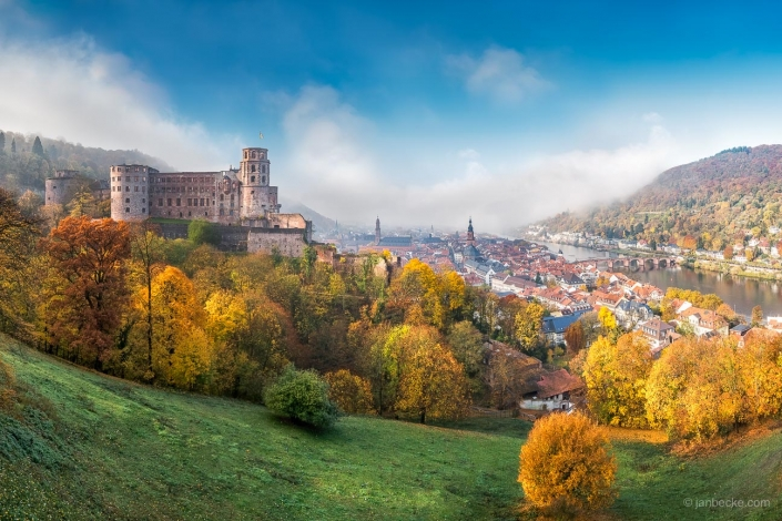Heidelberg city with old town and castle in autumn
