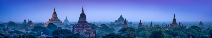 Panorama of old temples and pagodas in Bagan at night, Myanmar