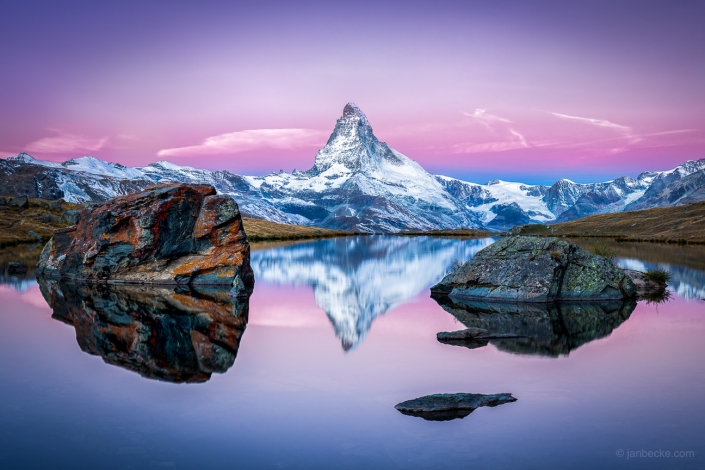 Matterhorn and Stellisee in the Swiss alps in winter, Switzerland