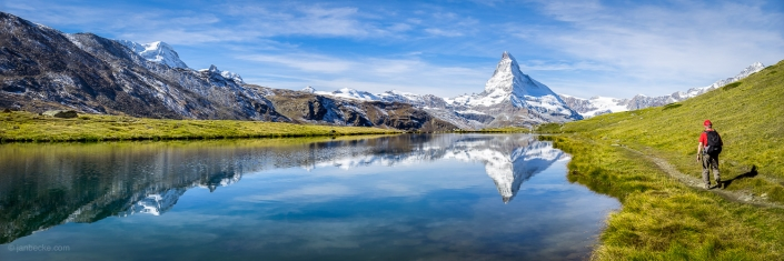 Stellisee and Matterhorn panorama in summer, Switzerland