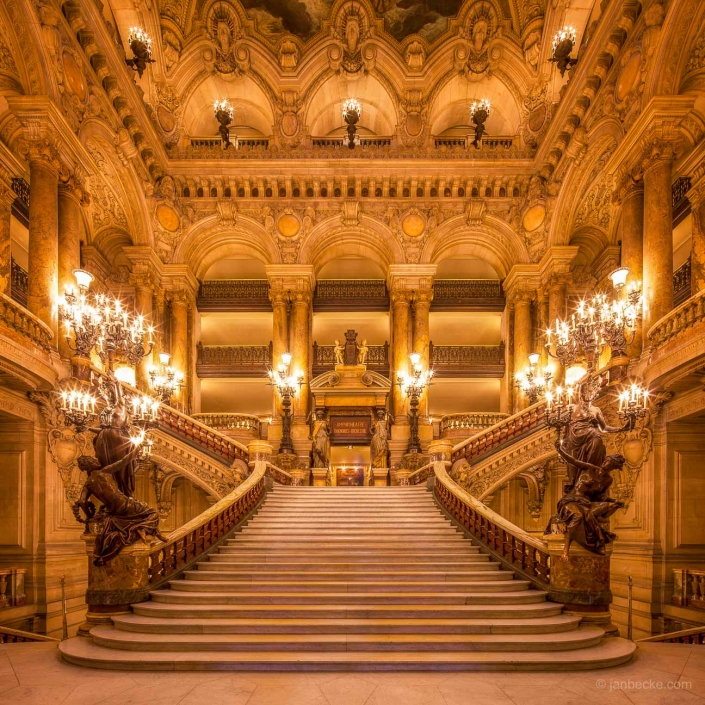 Staircase of the historic opera house Palais Garnier in Paris, France