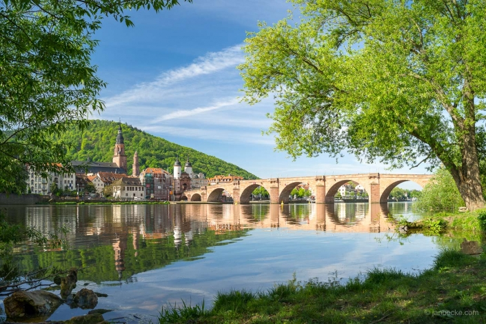 Old town of Heidelberg along the Neckar river with view towards the Old Bridge