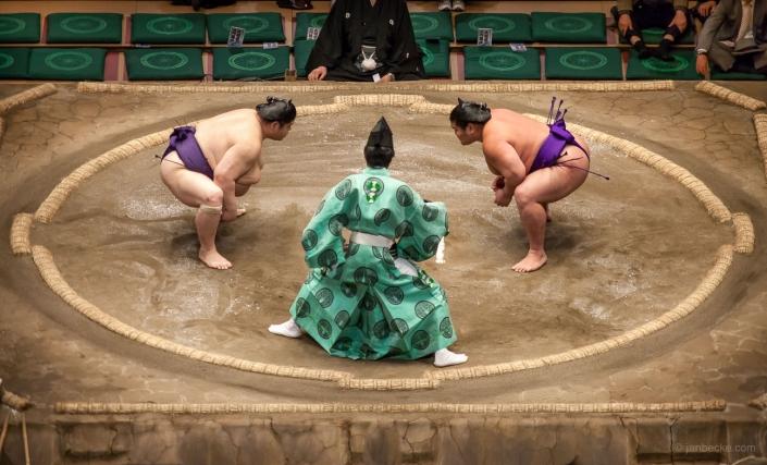 Tachiai during a sumo match, Ryogoku Kokugikan, Tokyo, Japan