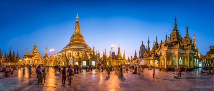 Shwedagon pagoda panorama at dusk, Yangon, Myanmar