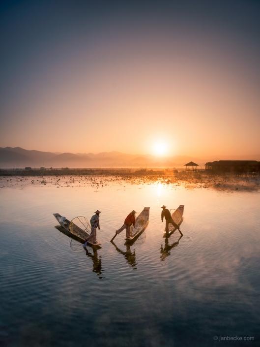 Intha fishermen on the Inle Lake at sunrise in Myanmar