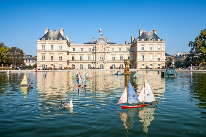 Small model boats at the Jardin du Luxembourg in summer, Paris, France