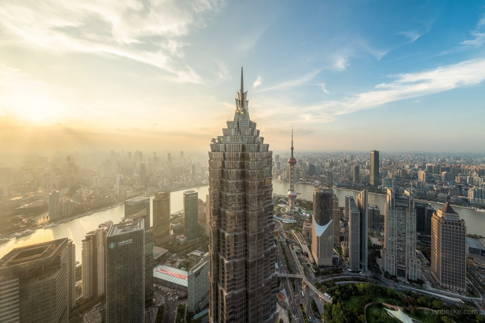 Jin Mao Tower and Pudong skyline during sunset, Shanghai, China