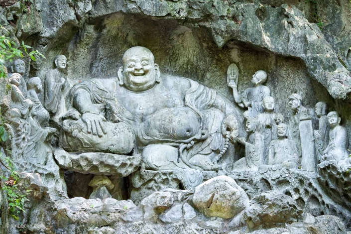 Laughing Buddha statue at the in Lingyin Temple in Hangzhou, China