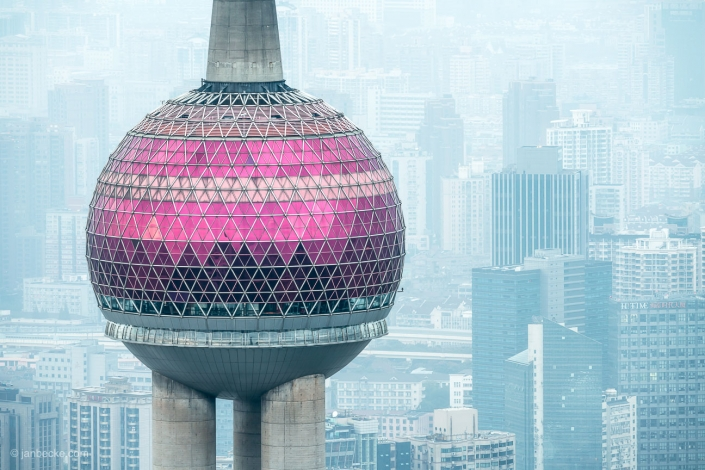 Arial view of the Oriental Pearl Tower in Shanghai