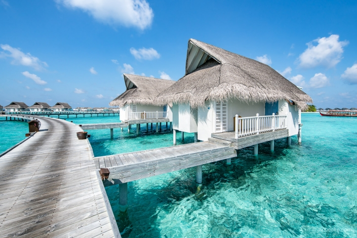 Overwater bungalows at a luxury beach resort on the Maldives