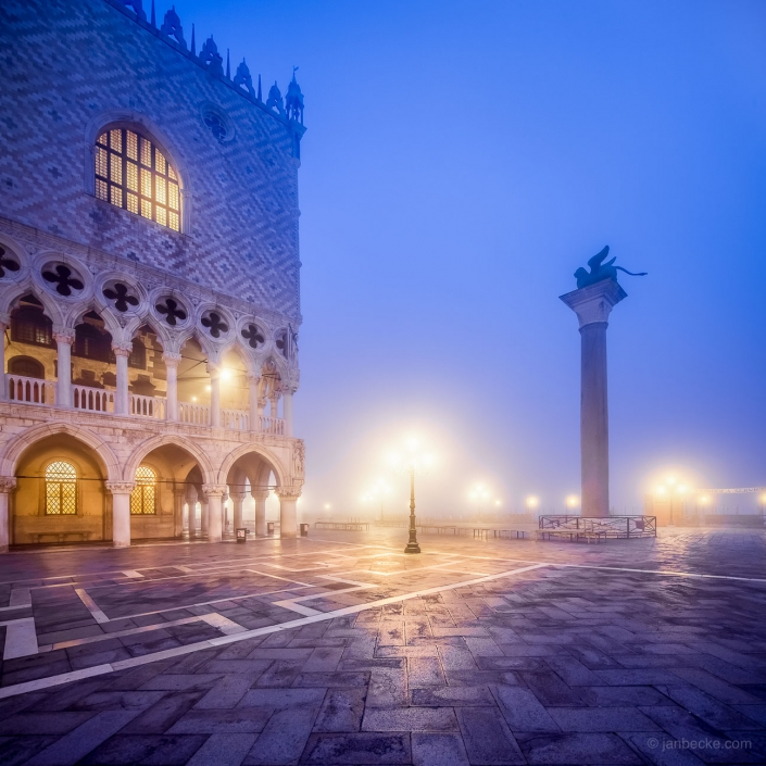 Piazza San Marco and Doge's Palace at night, Venice, Italy
