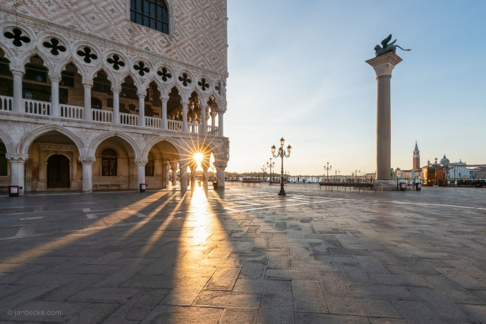 Doge's Palace at the Piazza San Marco at sunrise, Venice, Italy