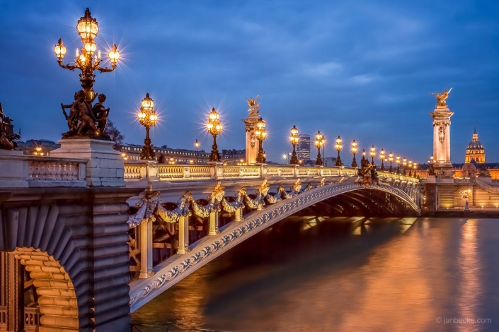 Pont Alexandre III at night, Paris, France
