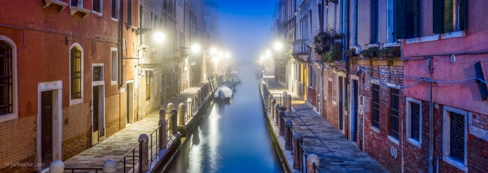 Panorama of colorful houses at the Rio de la Fornace in Venice, Italy
