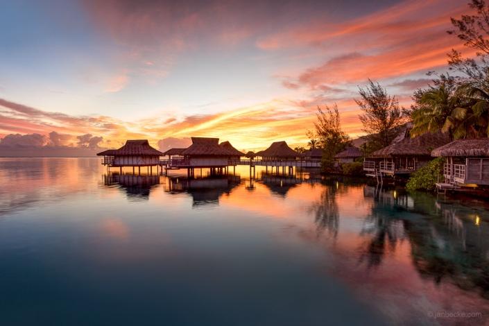 Beautiful sunset at a luxury beach resort on Bora Bora