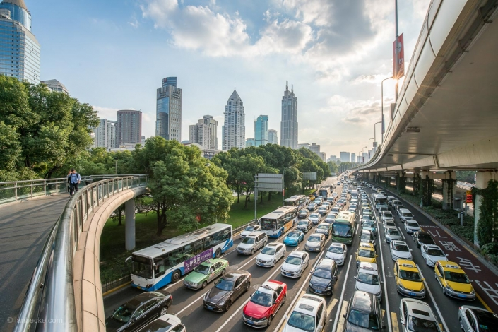Traffic jam on a busy highway road in Shanghai
