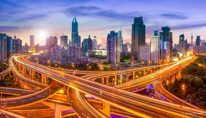 Shanghai skyline with highway intersection road