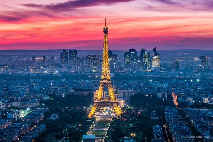 Skyline of Paris with Eiffel Tower at night
