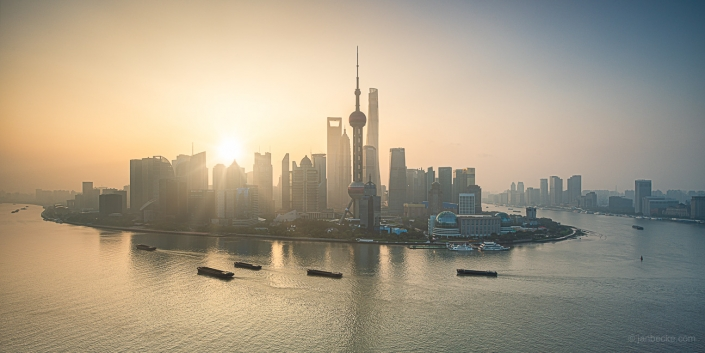 Sunrise behind the Pudong skyline in Shanghai