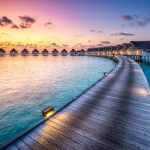 Sunset at a luxury beach resort, South Ari Atoll, Maldives
