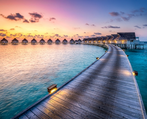 Sunset at a luxury beach resort, South Ari Atoll, Maldives