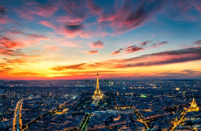Spectacular sunset over the skyline of Paris with Eiffel Tower
