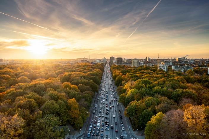 Sunset view over the Tiergarten district in Berlin