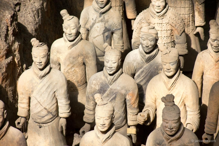 The Terracotta Army in Xi'an is a collection of terracotta sculptures depicting the armies of Qin Shi Huang, the first Emperor of China