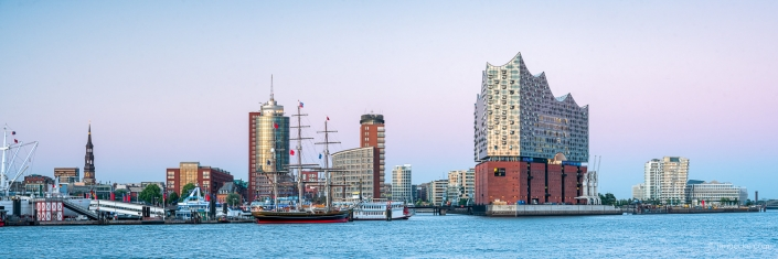 Panorama of the Port of Hamburg with Elbphilharmonie concert hall