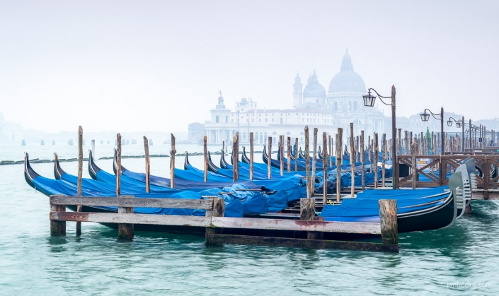 Fog above the water in winter, Venice, Italy