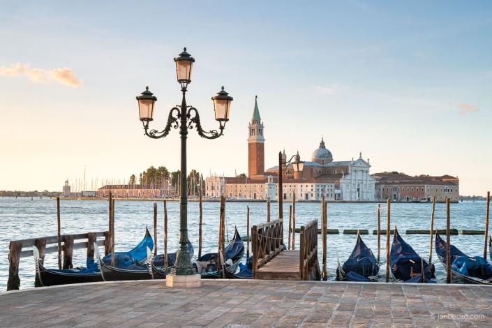 View towards San Giorgio Maggiore with gondolas in the foreground