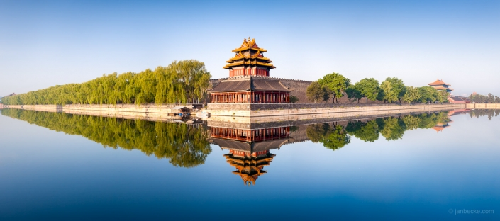 Watchtower and moat of the Forbidden City in Beijing