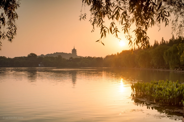 Sunrise at the West lake near Hangzhou in China