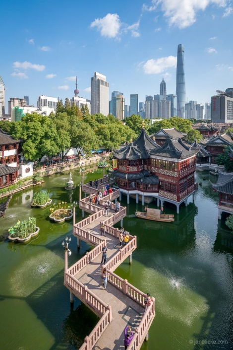 Aerial view of the Yu Yuan Gardens in Shanghai