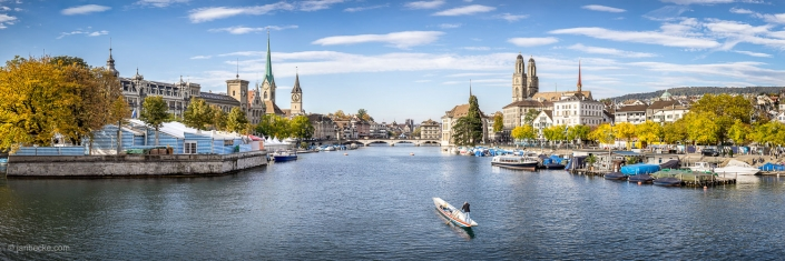 City of Zurich along the Limmat river in autumn