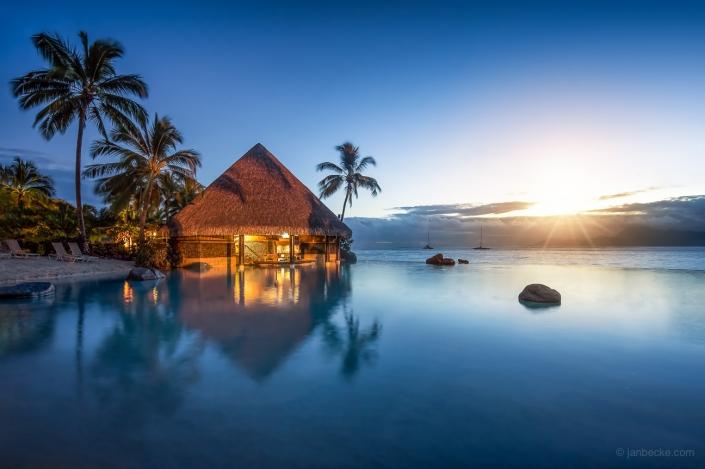 lnfinity pool at a luxury beach resort on Tahiti