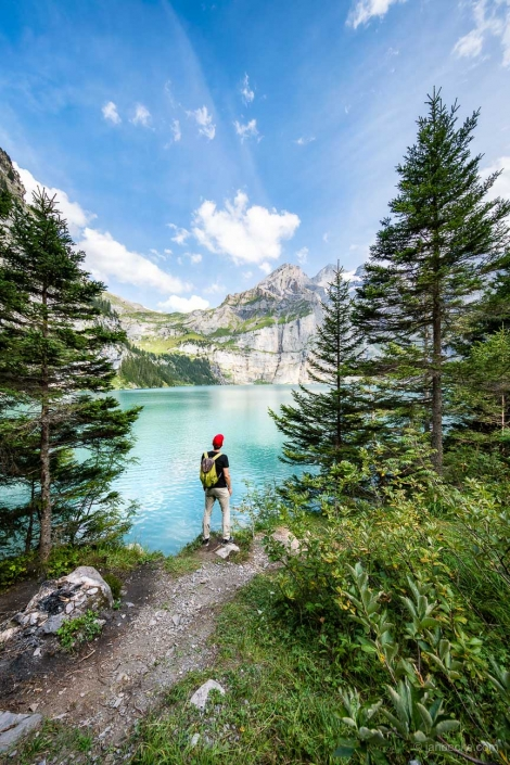 Hiking tour to the Oeschinensee part of the Berner Oberland in the Swiss Alps