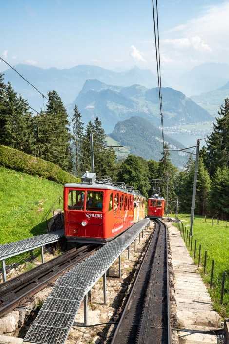 The Pilatus Railway is the steepest cogwheel railway in the world and was built more than 100 years ago in Switzerland