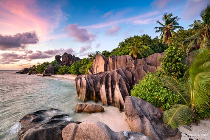 Striking rock formations on the island of La Digue