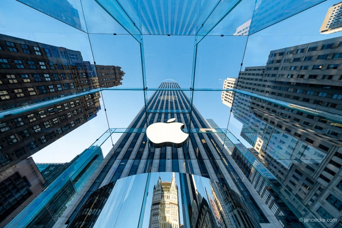 Apple flagship store along the Fifth Avenue in New York City