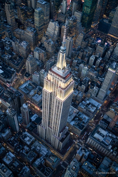 Empire State Building aerial shot at night