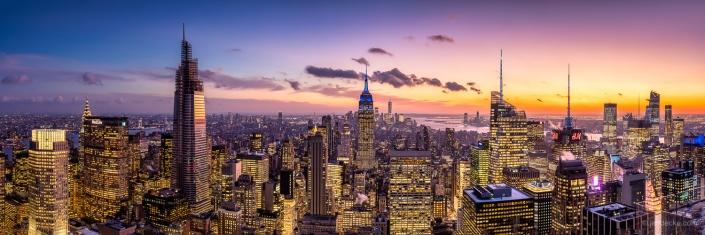 Manhattan skyline panorama at sunset